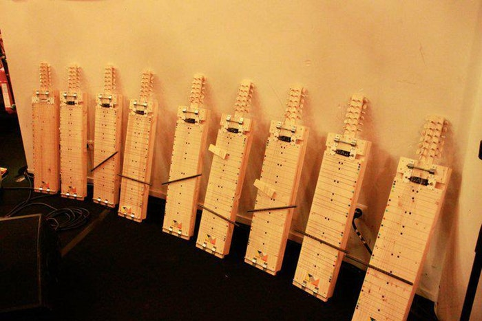 Image of a row of Home Swingers, an instrument invented by Yuri Landman