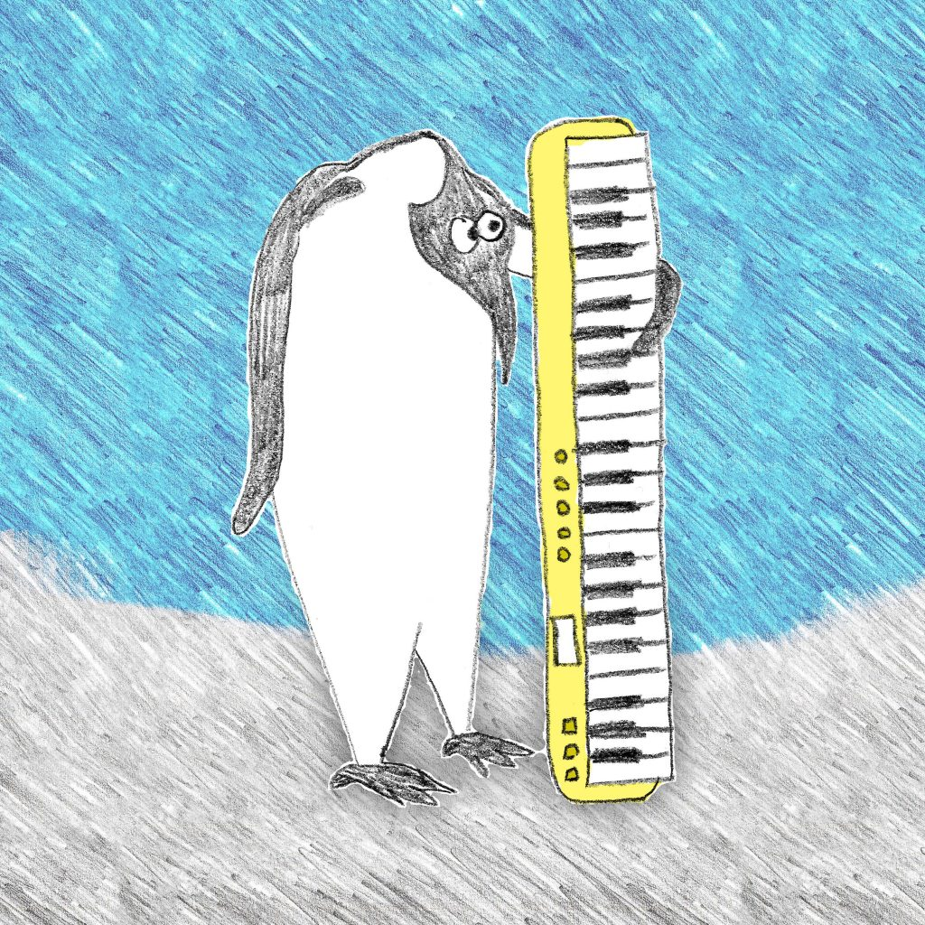 Illustration of a penguin holding a microtonal keyboard with longing expression