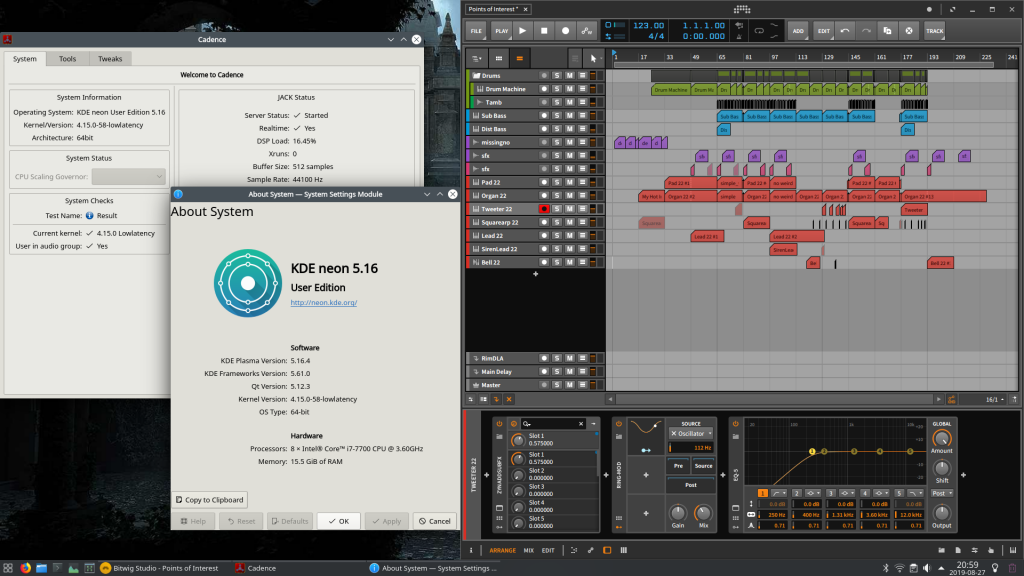 Picture of KDE Neon desktop running Bitwig Studio and Cadence