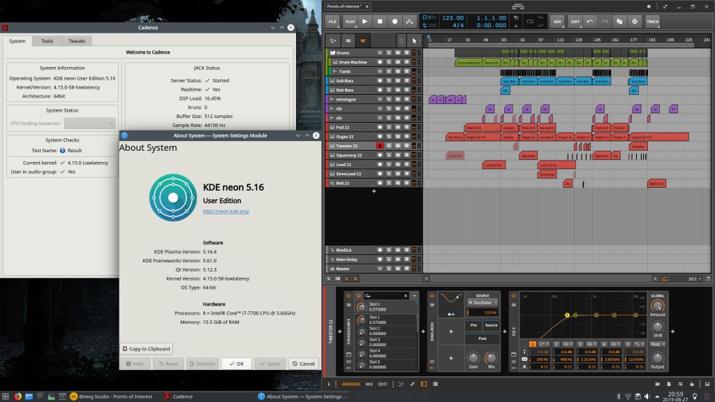 Picture of KDE Neon desktop running Bitwig Studio and Cadence