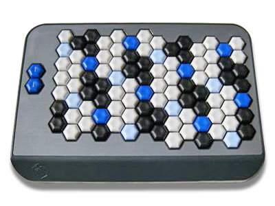 Photo of an AXiS-49 MIDI keyboard showing an array of hexagonal keys