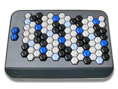 Photo of an AXiS-49 MIDI keyboard showing an array of hexagonal keys