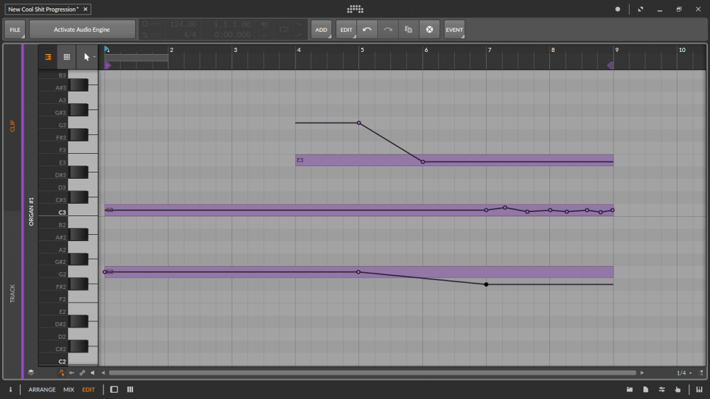 Editing polyphonic pitch-bend using Bitwig Studio's piano roll
