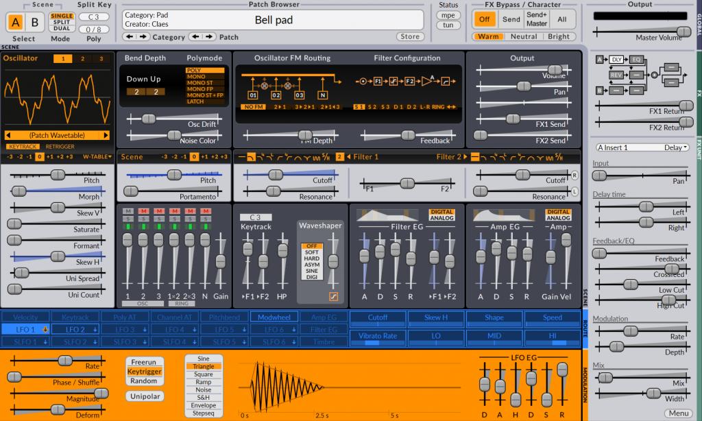 Screenshot of Surge synthesizer