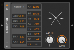 A screenshot of the Micro-Pitch device in Bitwig Studio